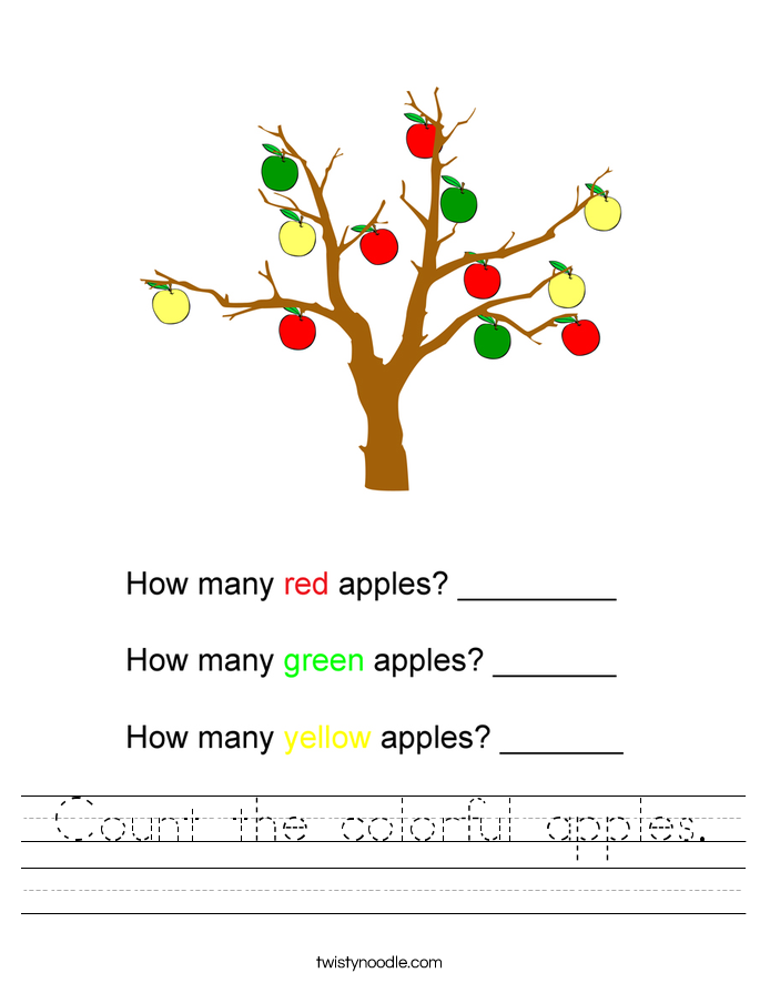 Count the colorful apples. Worksheet