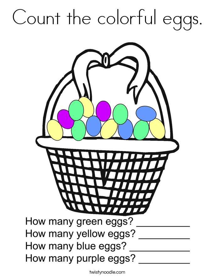 Count the colorful eggs. Coloring Page