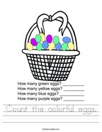 Count the colorful eggs Handwriting Sheet