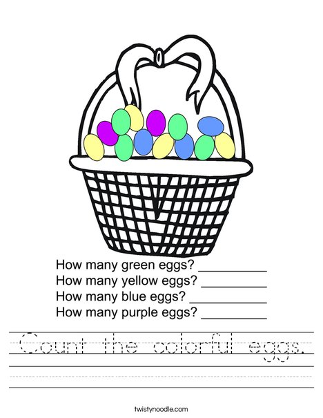Count the colorful eggs. Worksheet