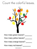 Count the colorful leaves Coloring Page