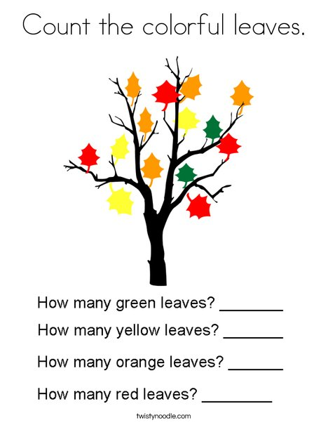 Count the colorful leaves. Coloring Page
