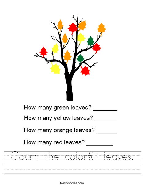 Count the colorful leaves. Worksheet