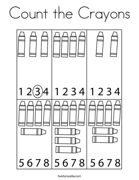 Count the Crayons Coloring Page