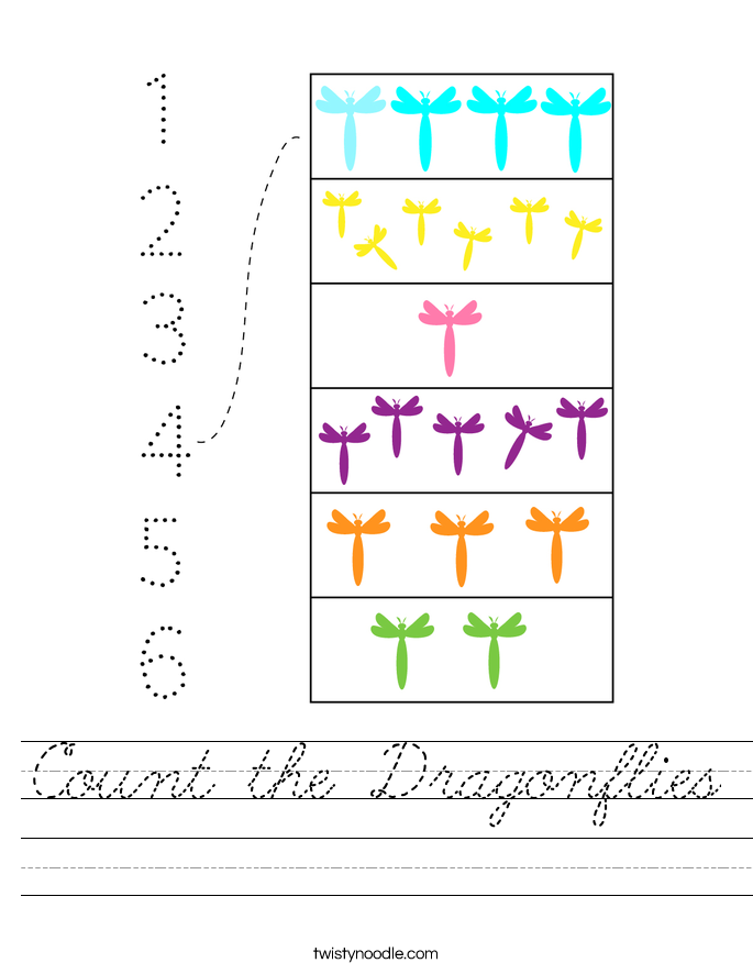 Count the Dragonflies Worksheet