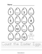 Count the Easter Eggs Handwriting Sheet