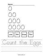Count the Eggs Handwriting Sheet