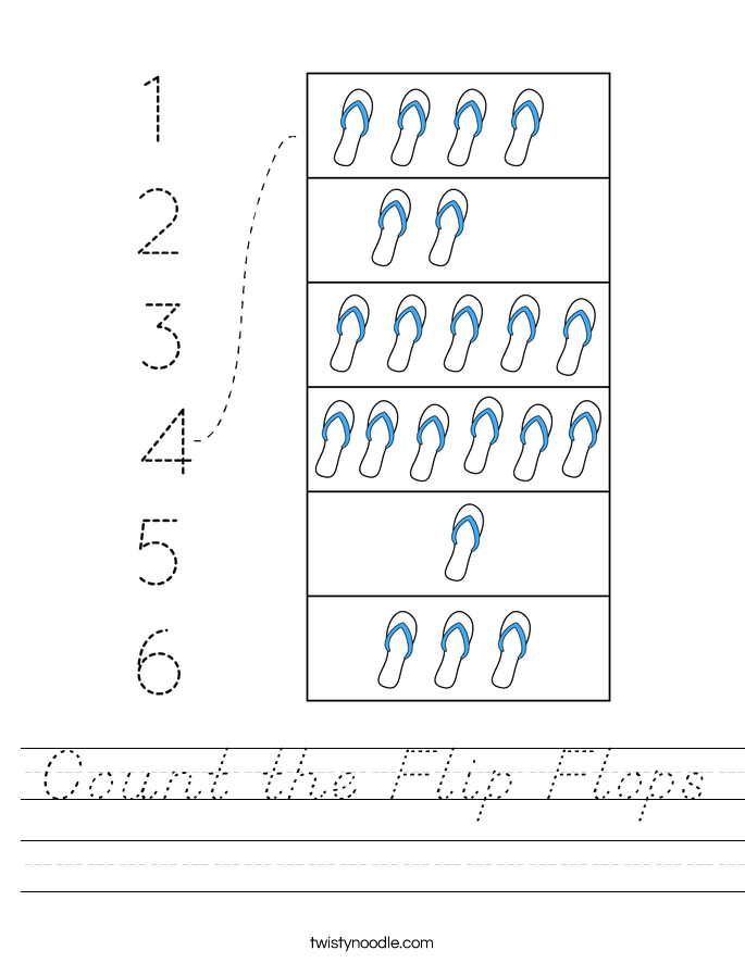 Count the Flip Flops Worksheet
