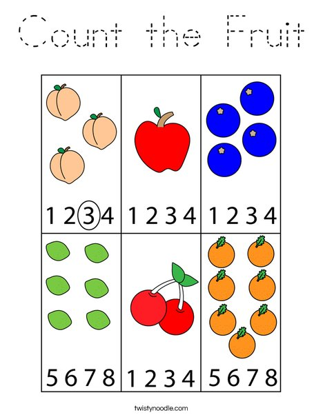 Count the Fruit Coloring Page