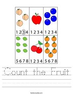 Count the Fruit Handwriting Sheet