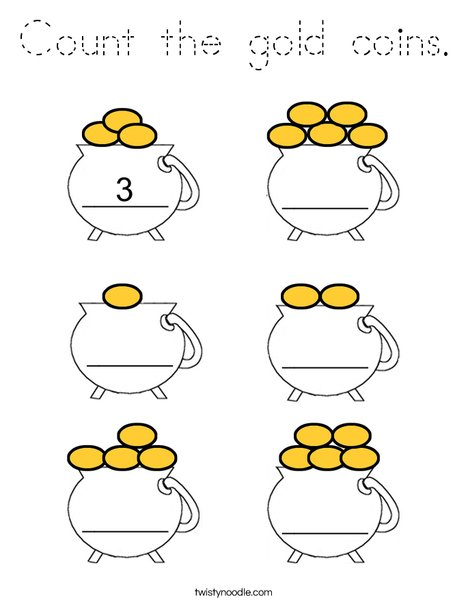 Count the gold coins Coloring Page