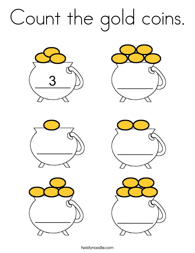 Count the gold coins. Coloring Page