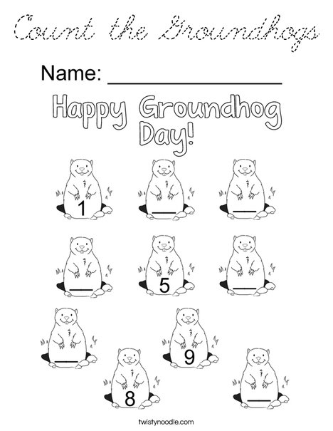 Count the Groundhogs Coloring Page