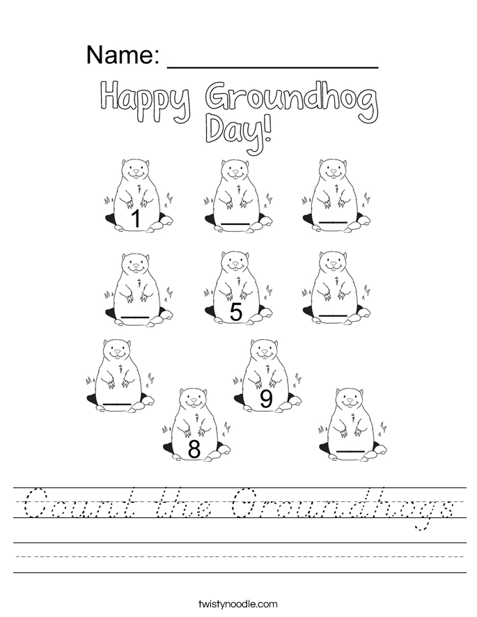 Count the Groundhogs Worksheet