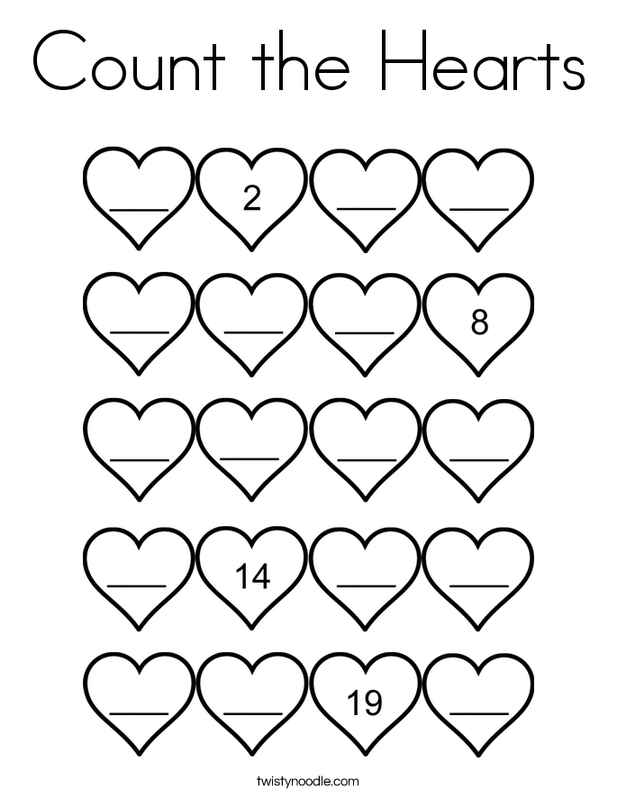 Count the Hearts Coloring Page