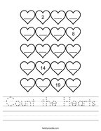 Count the Hearts Handwriting Sheet