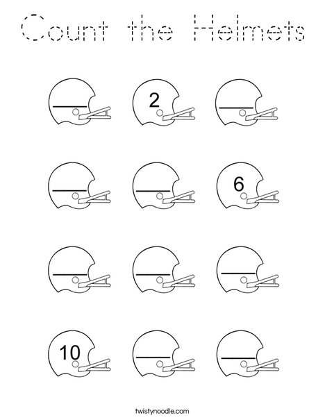 Count the Helmets Coloring Page