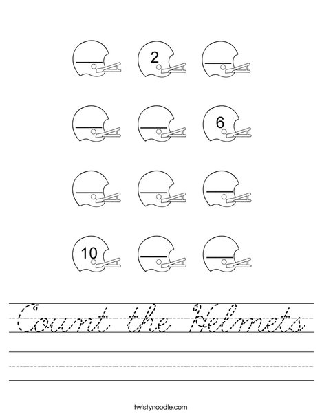 Count the Helmets Worksheet