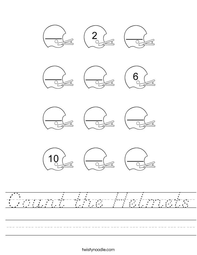 Count the Helmets Worksheet