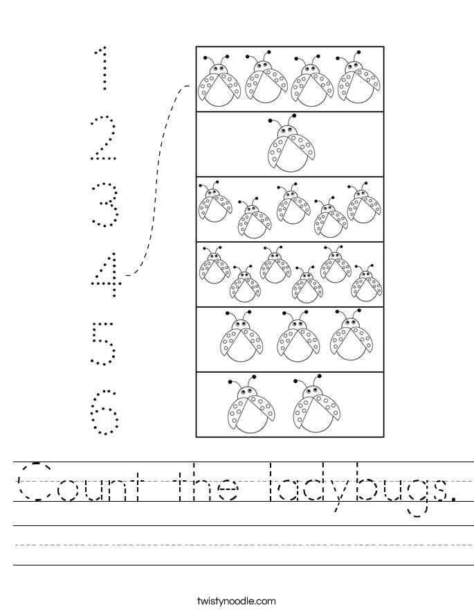 Count the ladybugs. Worksheet