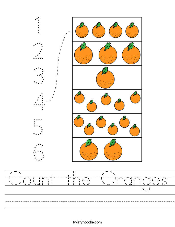 Count the Oranges Worksheet