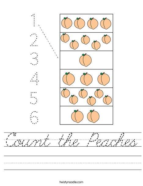 Count the Peaches Worksheet
