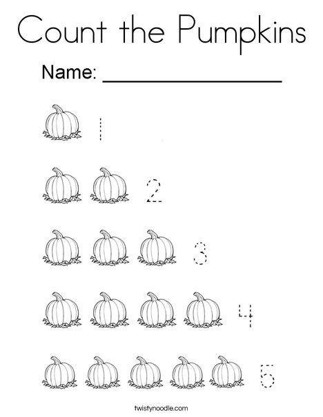 Count The Pumpkins Coloring Page Twisty Noodle