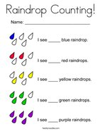 Raindrop Counting Coloring Page