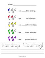 Raindrop Counting Handwriting Sheet