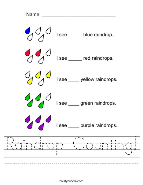 Count the raindrops Worksheet