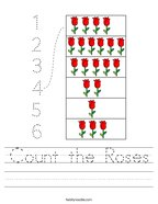 Count the Roses Handwriting Sheet