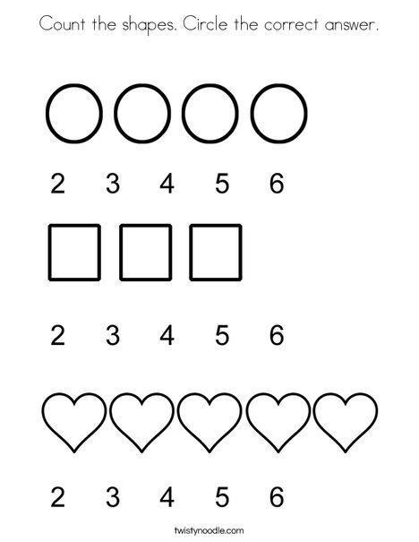 Count the shapes Circle the correct answer Coloring Page