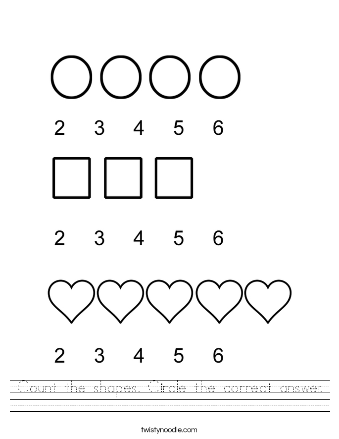 Count the shapes. Circle the correct answer. Worksheet