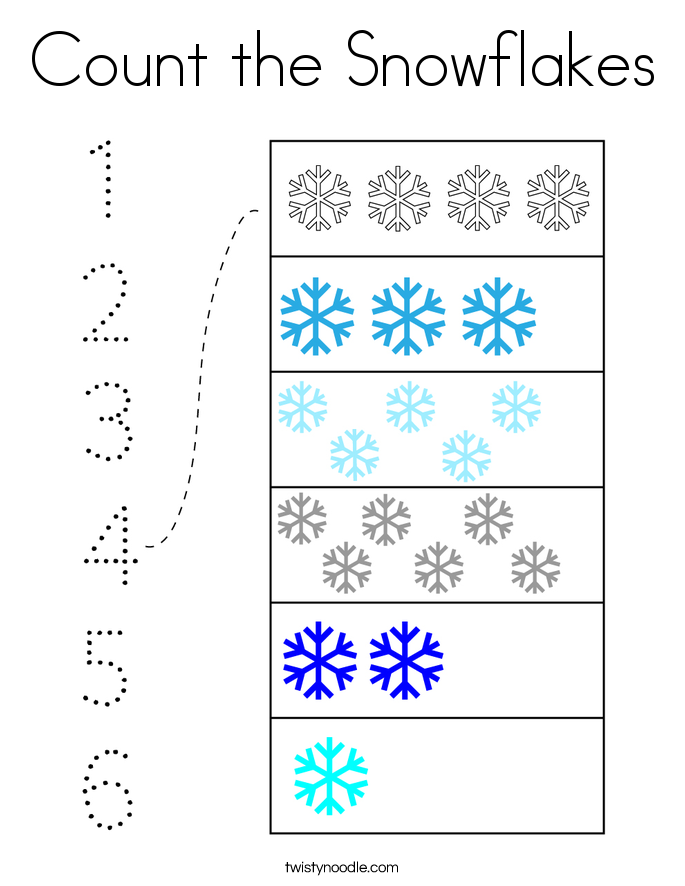 Count the Snowflakes Coloring Page