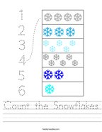 Count the Snowflakes Handwriting Sheet