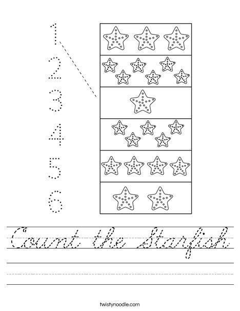 Count the Starfish Worksheet