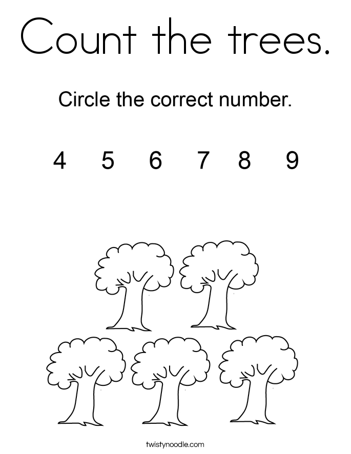 Count the trees. Coloring Page