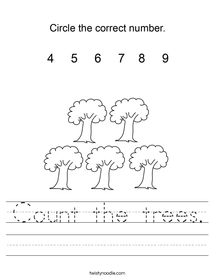 Count the trees. Worksheet