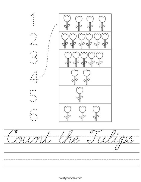 Count the Tulips Worksheet