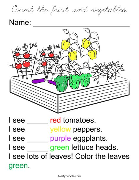 Count the Vegetables Coloring Page