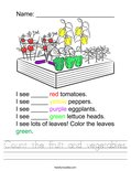 Count the fruit and vegetables. Worksheet