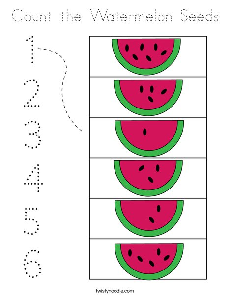 Count the Watermelon Seeds Coloring Page