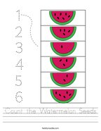 Count the Watermelon Seeds Handwriting Sheet
