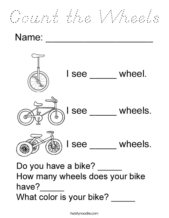 Count the Wheels Coloring Page