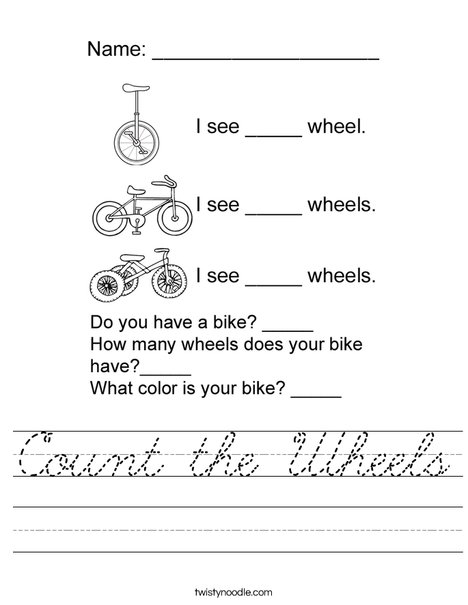 Count the Wheels Worksheet