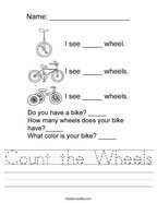 Count the Wheels Handwriting Sheet
