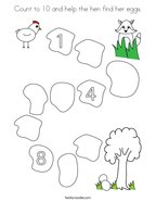 Count to 10 and help the hen find her eggs Coloring Page
