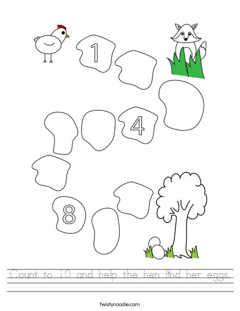 Count to 10 and help the hen find her eggs. Worksheet
