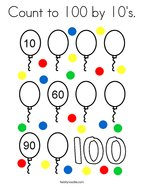 Count to 100 by 10's Coloring Page