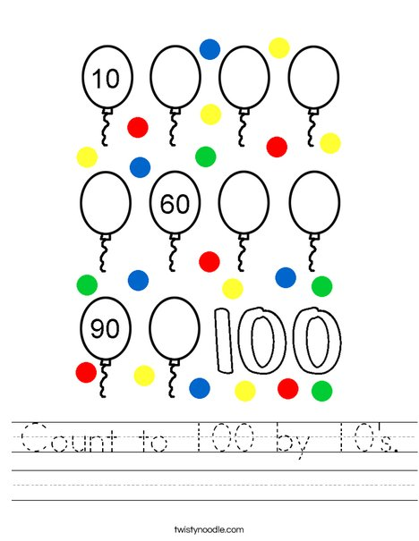 Count to 100 by 10's. Worksheet